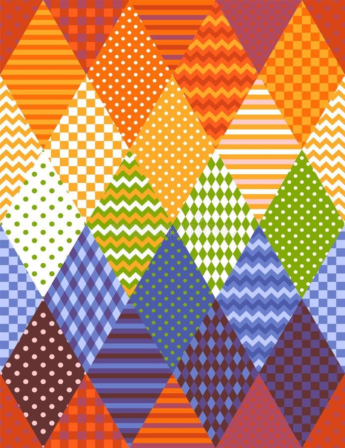 Färgrik sömlös patchworkmodell från romber Denna ?r mappen av formatet EPS10 Tryck f?r tyg, textil, filt stock illustrationer