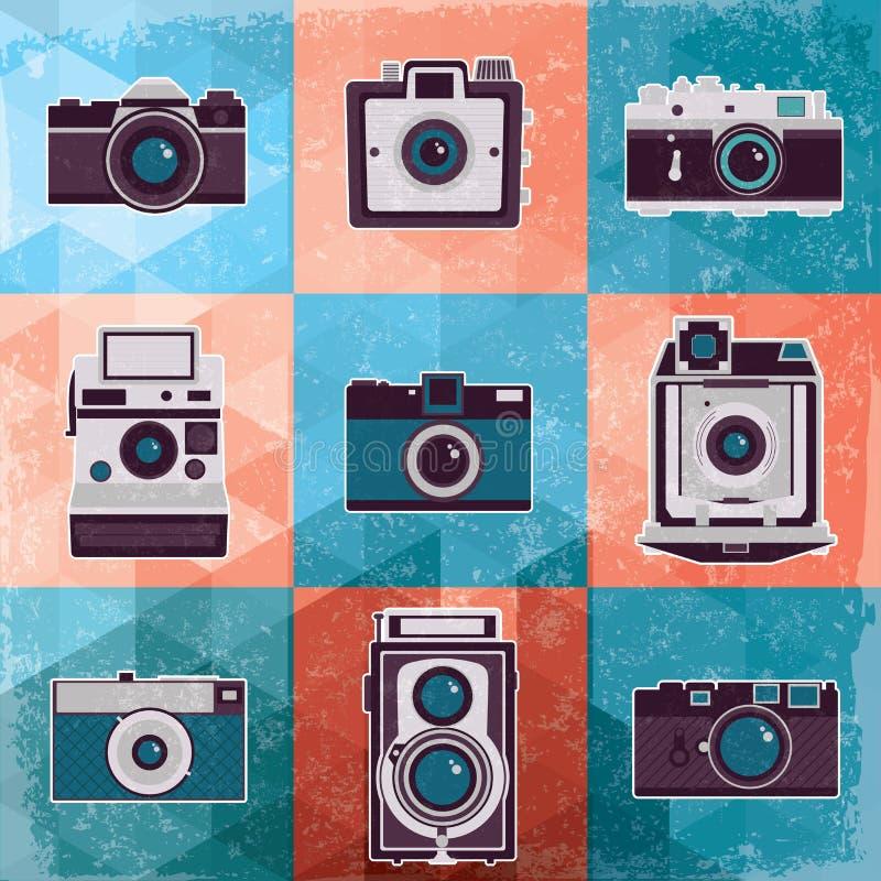 Färgrik samling av den retro kamerauppsättningen. stock illustrationer