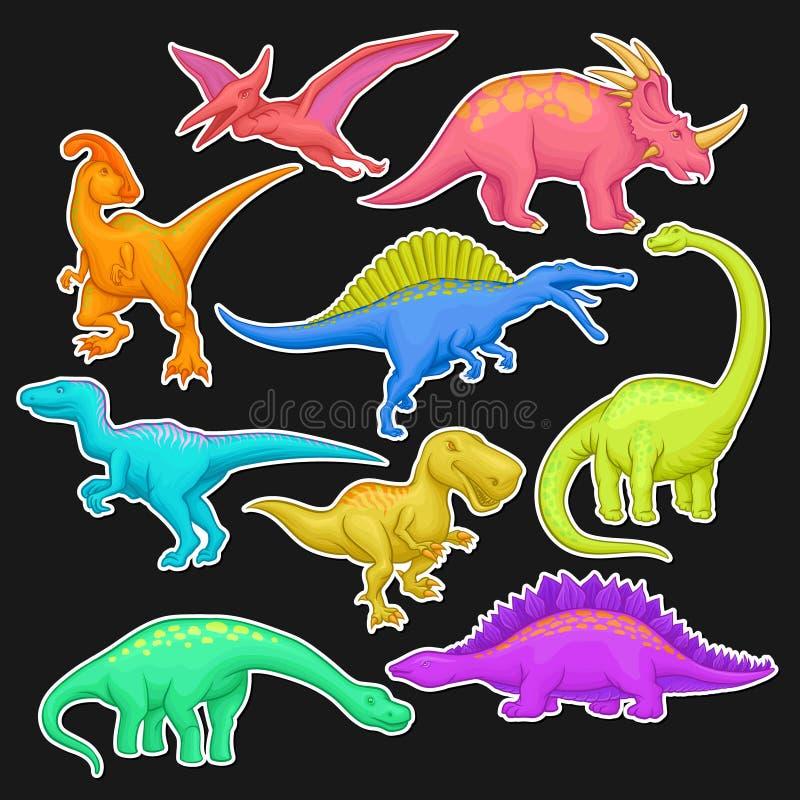 Färgrik samling av förhistoriska reptilar Jätte- djur av den Jurassic perioden Tecknad filmdinosaurietecken i plan stil royaltyfri illustrationer
