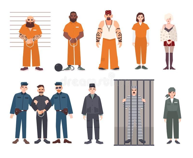 Färgrik samling av manliga och kvinnliga fångar Arresterad man- och kvinnauppsättning Plan vektorillustration vektor illustrationer