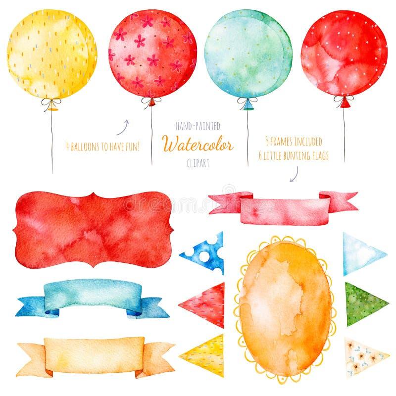 Färgrik samling för vattenfärg med mångfärgade ballonger royaltyfri illustrationer