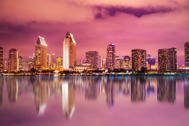Färgrik San Diego California solnedgånghorisont arkivfoto
