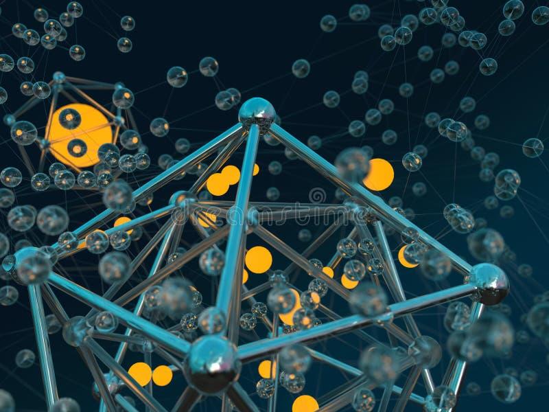 Färgrik scifibakgrund för abstrakt molekyl Exponeringsglas stål, ljus illustration 3d vektor illustrationer