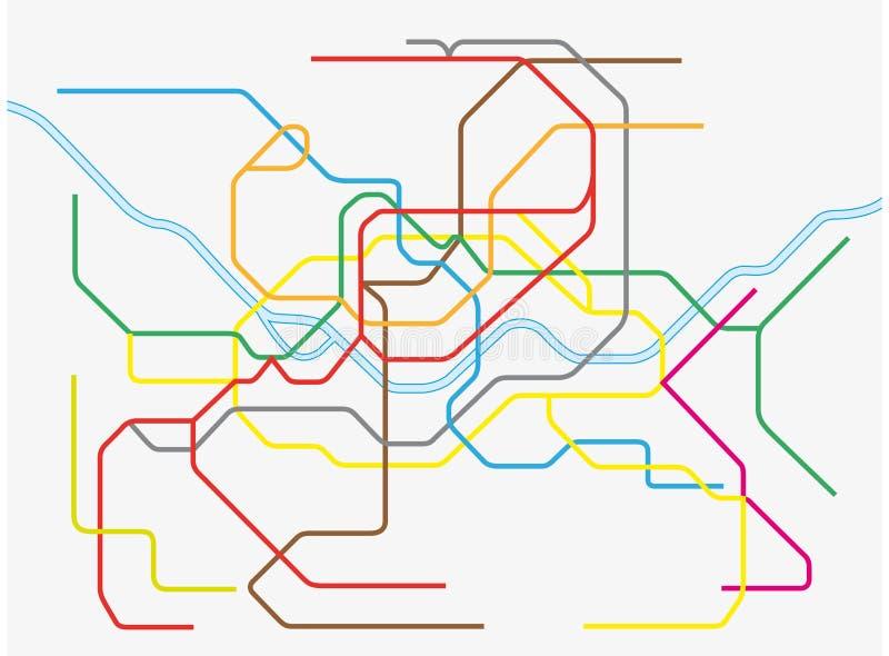 Färgrik seoul storstads- gångtunnelöversikt vektor illustrationer