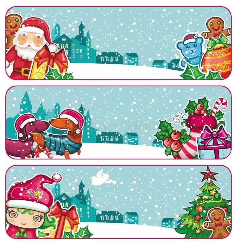 färgrik serie för banerjul stock illustrationer