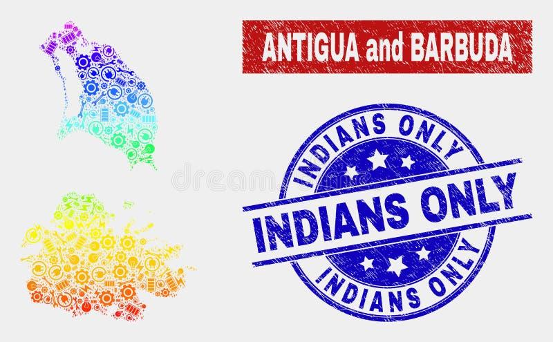 Färgrik serviceAntigua och Barbudaöversikt och skrapade vattenstämplar för indier endast stock illustrationer