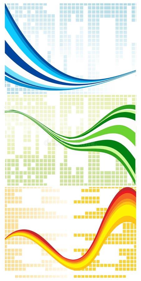 färgrik setwave för abstrakt bakgrunder vektor illustrationer