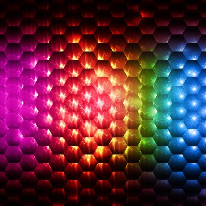 Färgrik sexhörningsbakgrund för abstrakt regnbåge vektor illustrationer