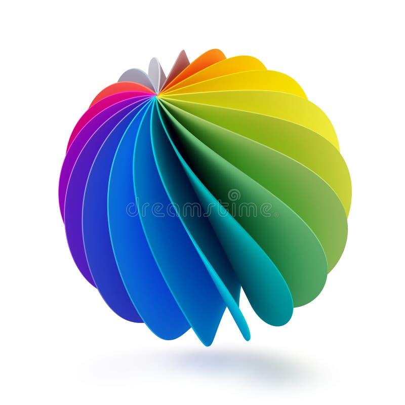 färgrik sfär som 3d isoleras på vit royaltyfri illustrationer