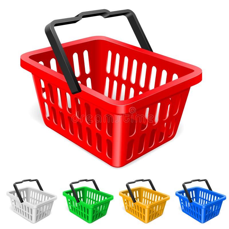 färgrik shopping för korg vektor illustrationer
