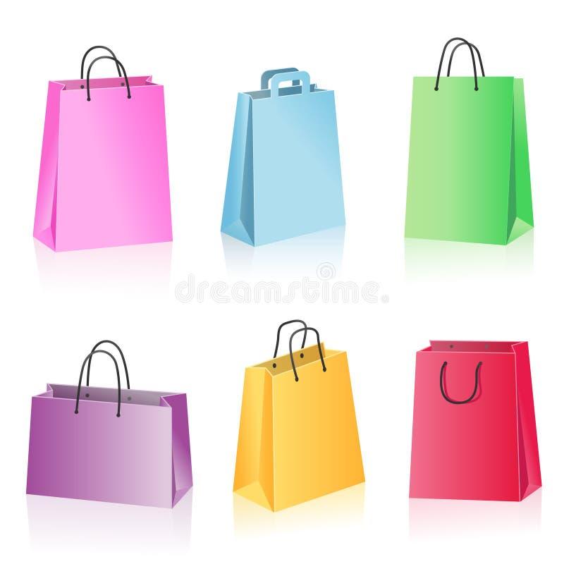 färgrik shopping för påse vektor illustrationer