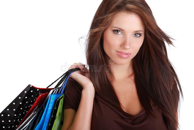 färgrik shoppingkvinna för påse arkivbild