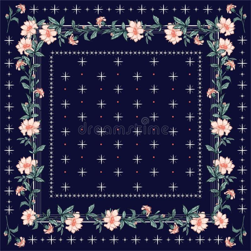 Färgrik sjal, halsduktryck Blomma blom- bakgrund för trädgård med linjen och den sömlösa modellen för geometrisk bandanastil i ve vektor illustrationer