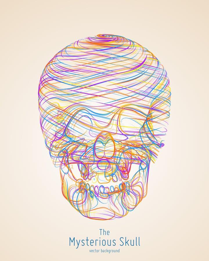 Färgrik skalle för vektor som konstrueras med ljusa linjer Begreppsmässig illustration för mänskligt huvud Abstrakta virvellinjer vektor illustrationer
