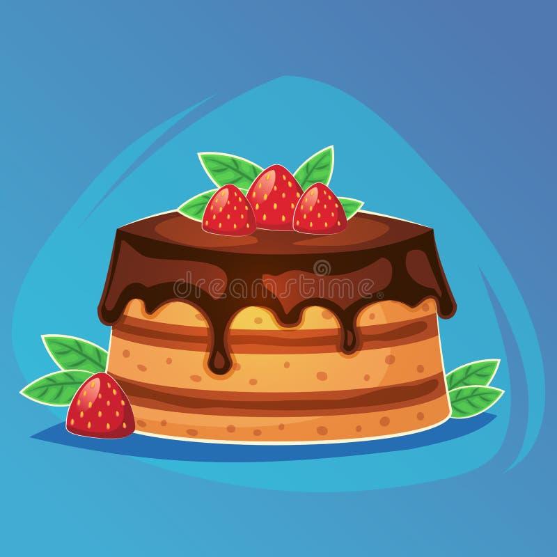 Färgrik smaklig kakabageriefterrätt med för matlek för choklad och för jordgubbe den söta symbolen, tecknad filmmat eller webbpla royaltyfri illustrationer