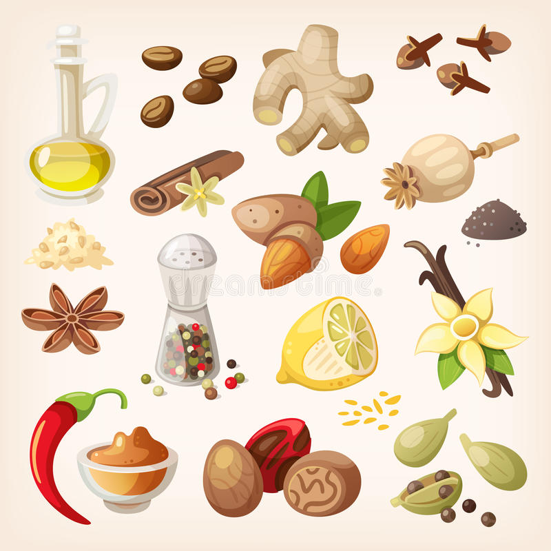 Färgrik smaktillsats- och kryddauppsättning royaltyfri illustrationer