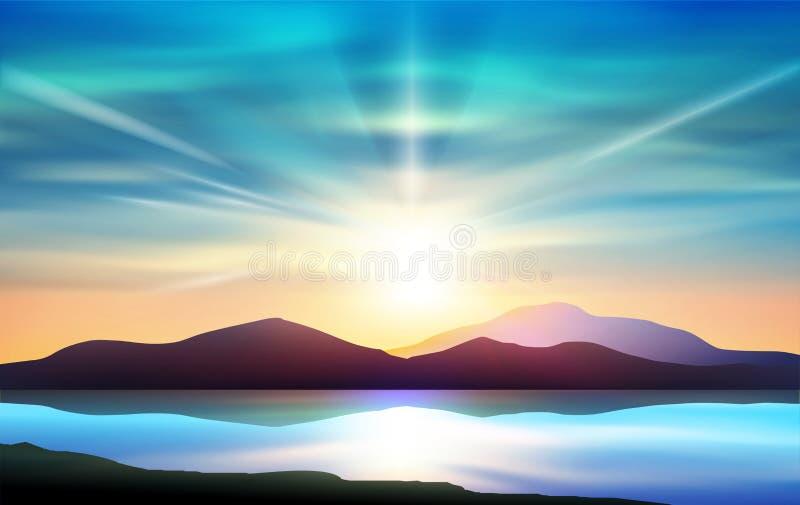 Färgrik solnedgånghimmel, vattenspegel, naturlandskap royaltyfri illustrationer