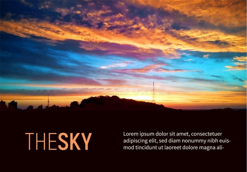 Färgrik solsken- och soluppgångbakgrundsvektor för härlig himmel Ljusa orange sol- och förbluffamoln royaltyfri illustrationer