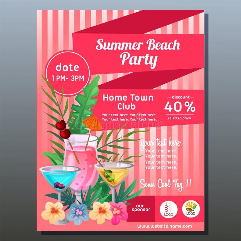 F?rgrik sommarpartiaffisch med den tropiska coctaildrinken stock illustrationer