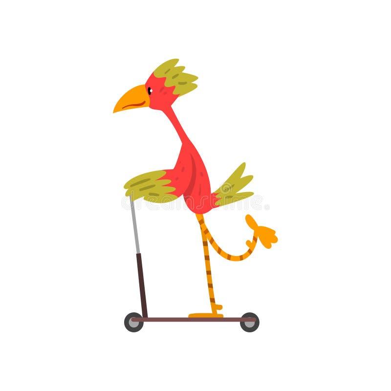 Färgrik sparkcykel för fågelridningspark, roligt fågeltecken som använder medelvektorillustrationen stock illustrationer
