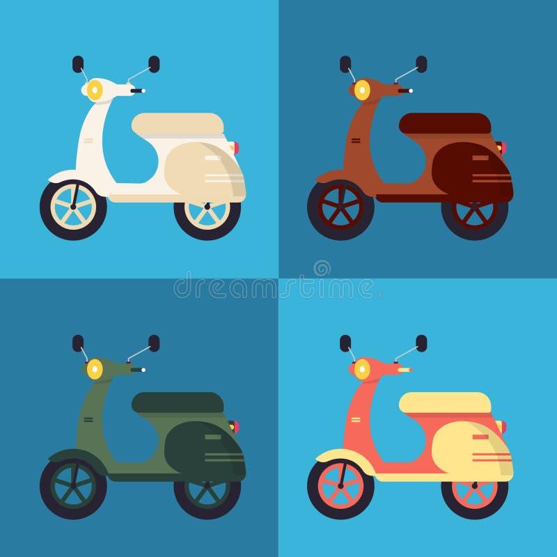 Färgrik sparkcykeluppsättning vektor illustrationer