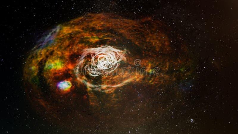 Färgrik spiral av det svarta hålet för galax, collage royaltyfri foto