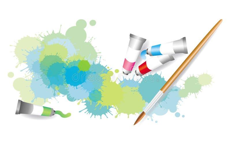 Färgrik splatter vid vattenfärgmålning royaltyfri illustrationer