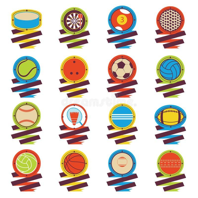 Färgrik sportbolllogo Fotboll basket, golf, volleyboll, hockey, amerikan, tennis, billiard, baseball, bowling, cricke stock illustrationer