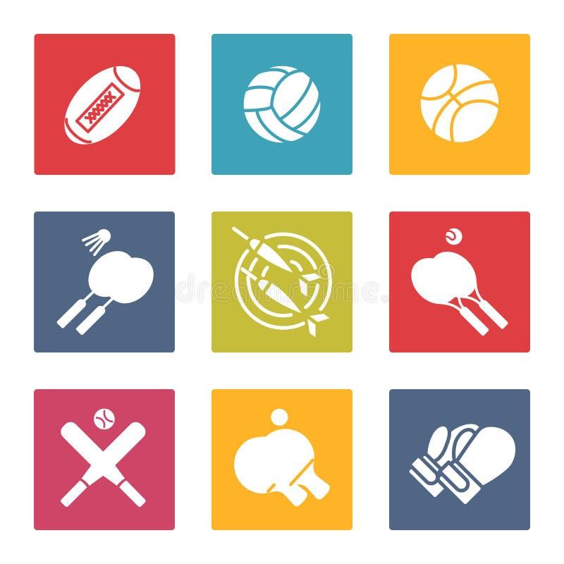 Färgrik sportsymbolsuppsättning vektor illustrationer
