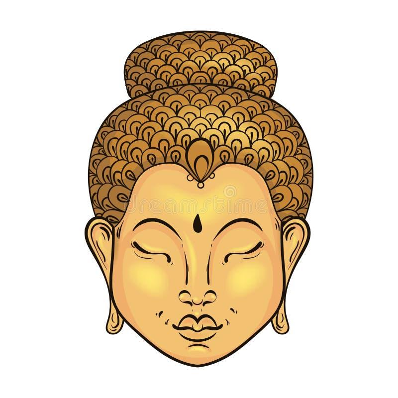 Färgrik stående för vektor artistically av Buddha, buddismtatuering stock illustrationer