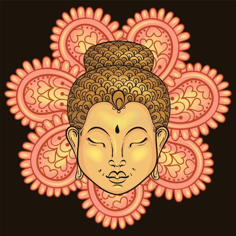 Färgrik stående för vektor artistically av Buddha på mand vektor illustrationer
