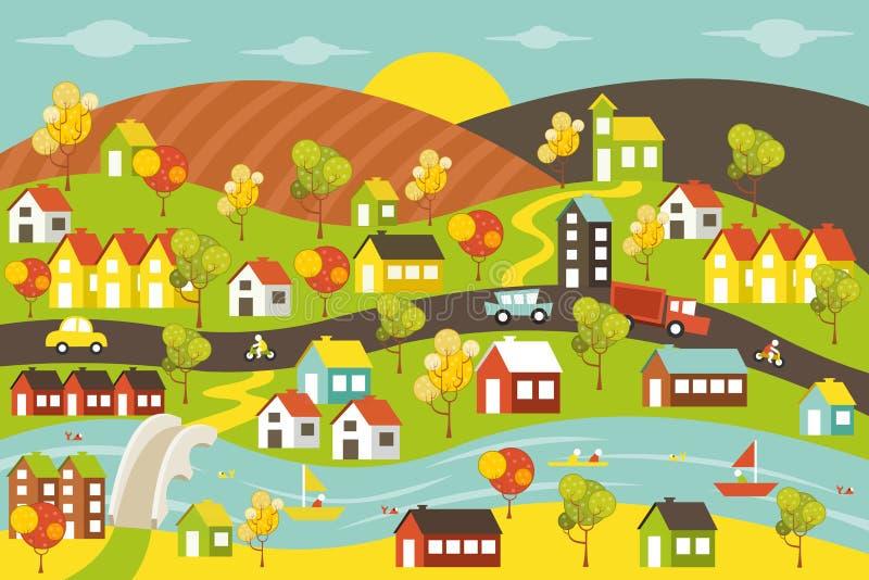 färgrik stad stock illustrationer