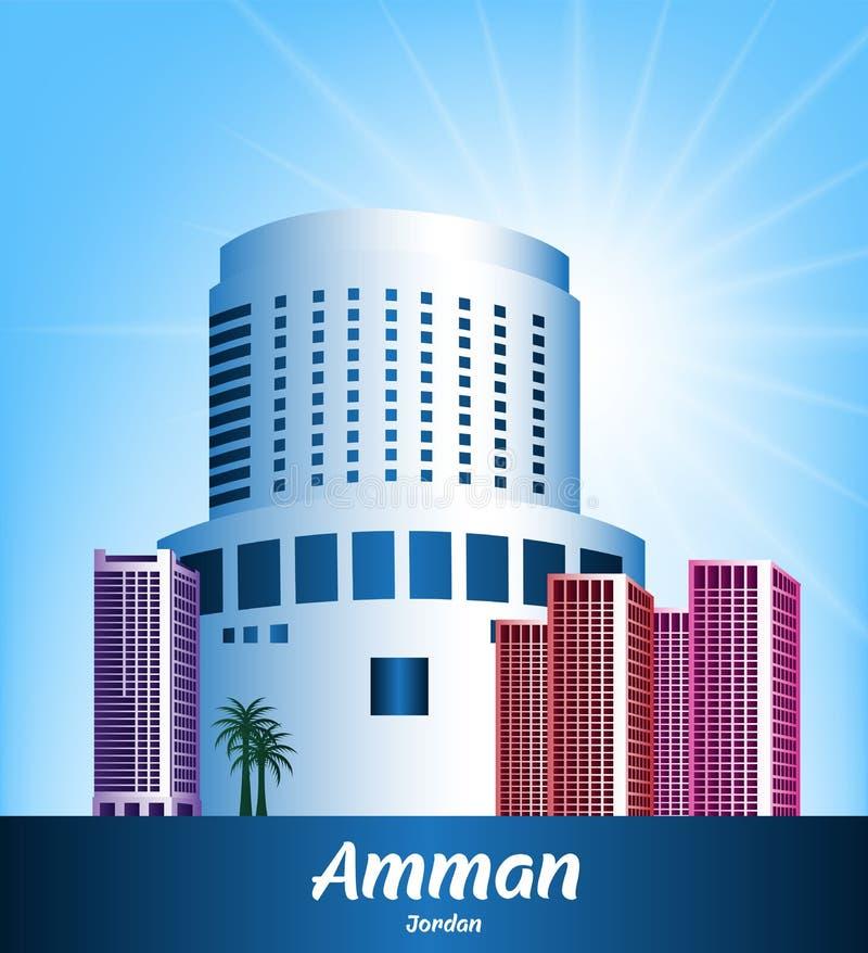 Färgrik stad av Amman Jordan Famous Buildings stock illustrationer
