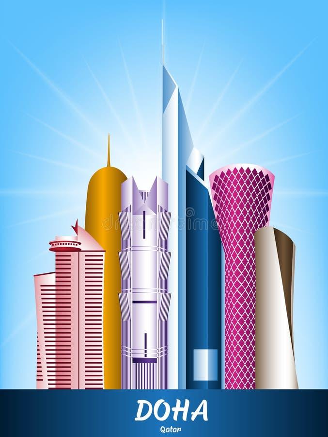 Färgrik stad av Doha Qatar berömda byggnader vektor illustrationer