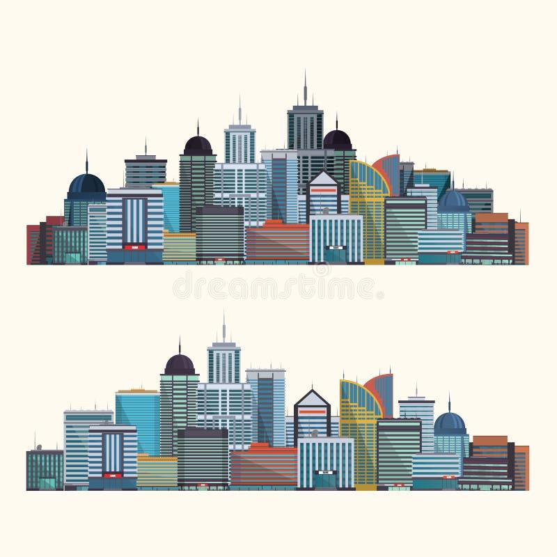 Färgrik stadsillustration som isoleras på vit bakgrund vektor vektor illustrationer