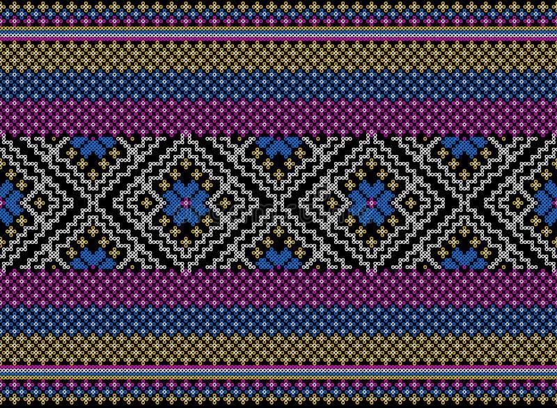Färgrik stam- och Aztec sömlös modell royaltyfria foton