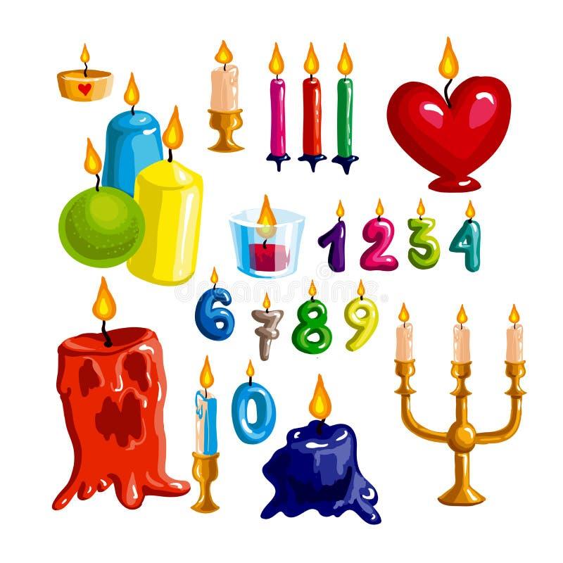 Färgrik stearinljusuppsättning Vektorstearinljusflamma och vax - samling för födelsedagparti och ferie stock illustrationer