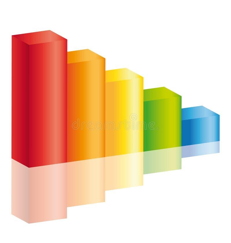 färgrik stick för decreasediagram ii stock illustrationer