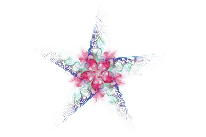 Färgrik stjärna för abstrakt fractal på vit bakgrund royaltyfria bilder