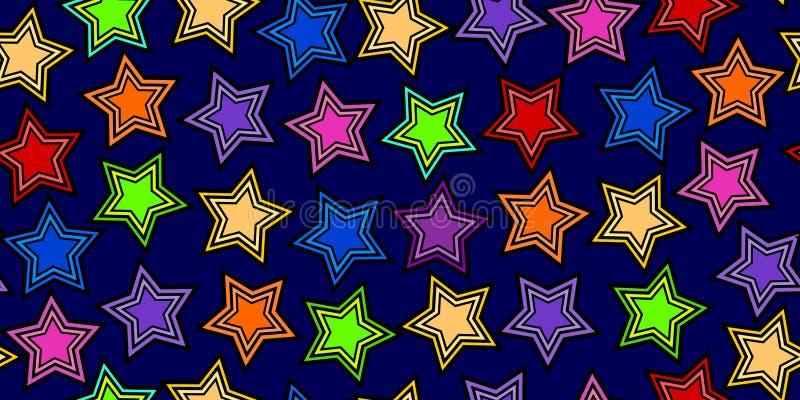 Färgrik stjärna på mörkt - blått sömlöst stock illustrationer