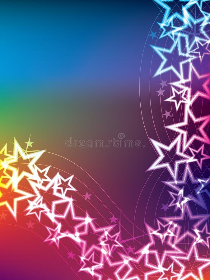 Färgrik stjärnalinje sida stock illustrationer