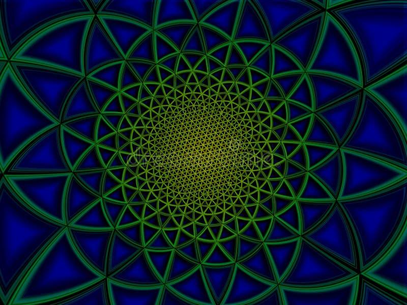 Färgrik strålningspolygonal illustration för gräsplanblåttbakgrund royaltyfri foto