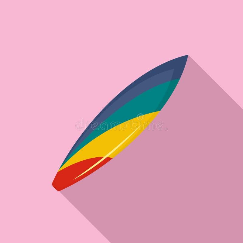 Färgrik surfingbrädasymbol, lägenhetstil royaltyfri illustrationer
