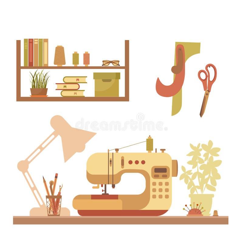 Färgrik symaskinillustration för vektor stock illustrationer