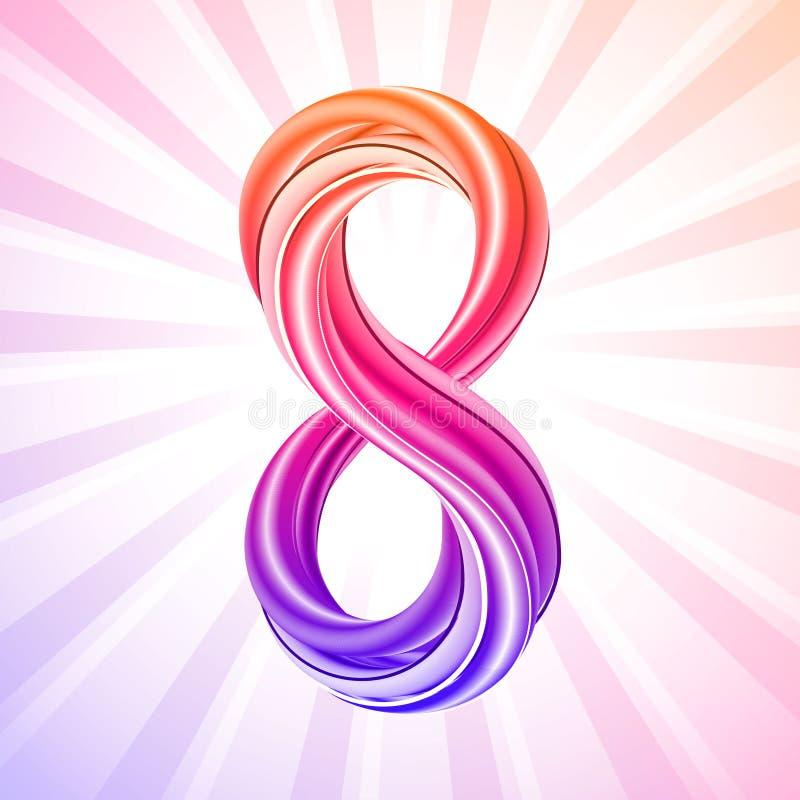 Färgrik symbol för nummer åtta, symbol av mars 8 royaltyfri illustrationer