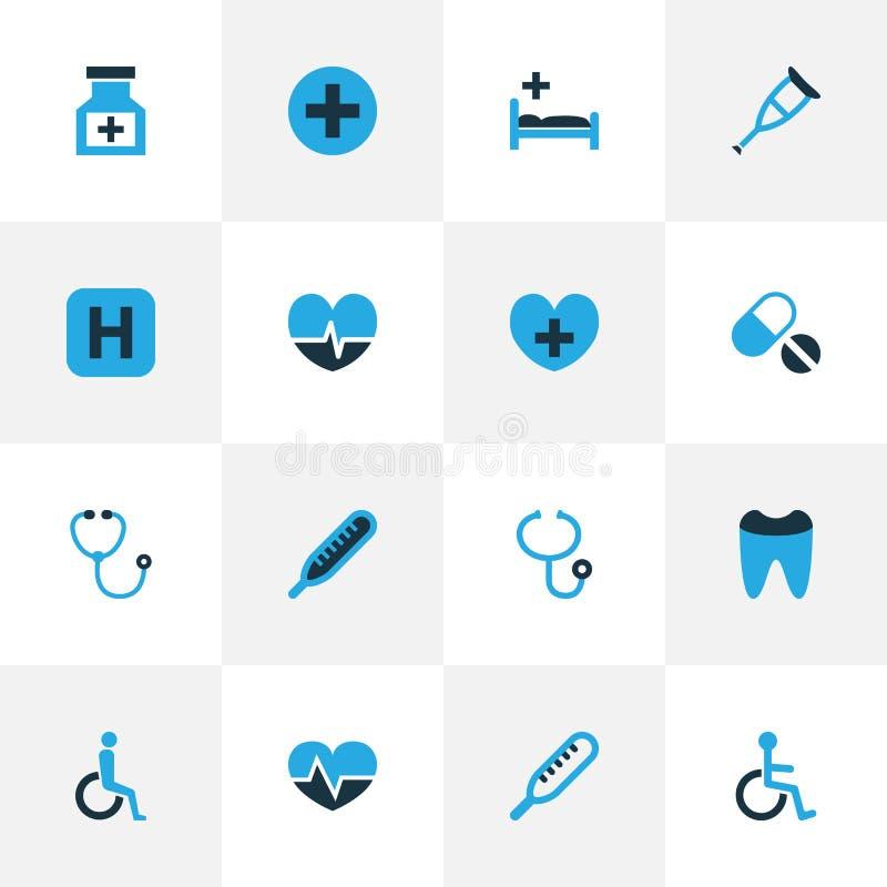 Färgrik symbolsuppsättning för drog Samling av för termometer, tand- och annan beståndsdelar för hjärtslag, Inkluderar också symb stock illustrationer