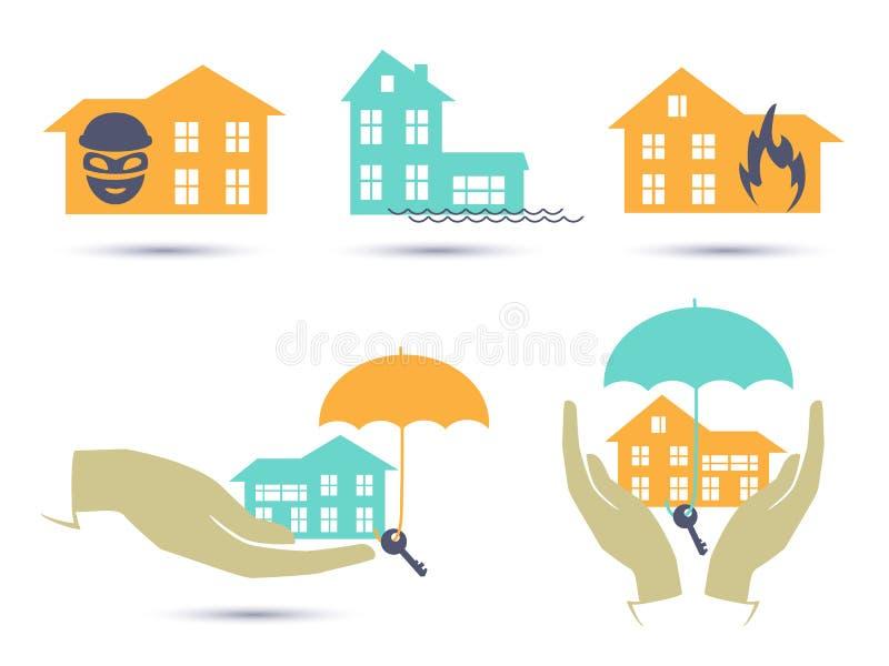 Färgrik symbolsuppsättning för försäkring stock illustrationer