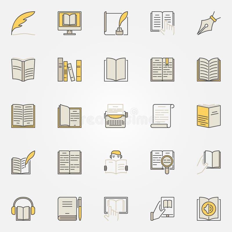 Färgrik symbolsuppsättning för litteratur vektor illustrationer