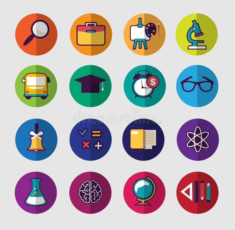 Färgrik symbolsuppsättning för skola royaltyfri illustrationer