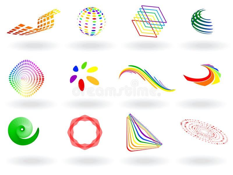 färgrik symbolsvektor vektor illustrationer